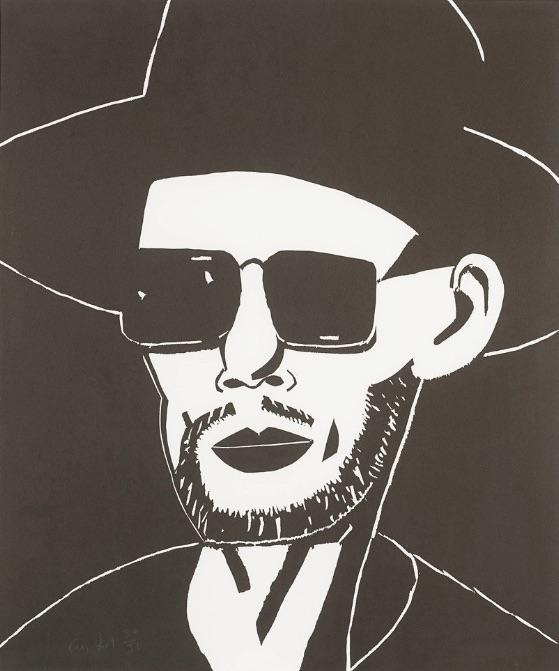 Alex Katz Black Hat Tim Eitel, Holzschnitt, signiert, nummeriert, Auflage 30 Stück