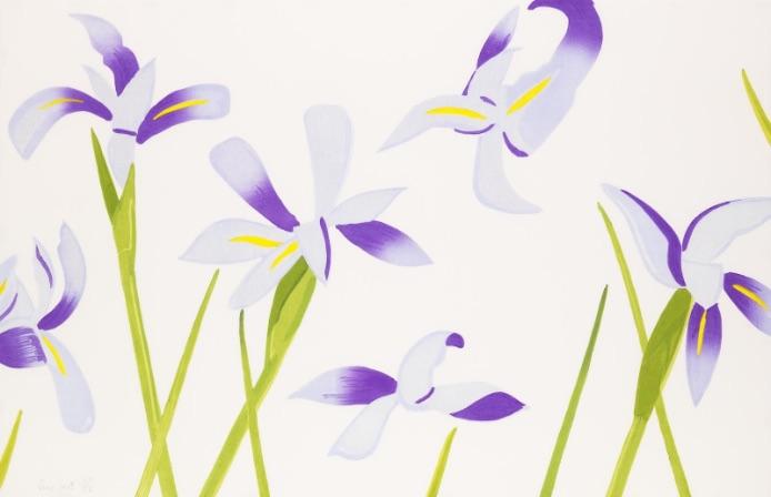 Alex Katz Blue Irises, Holzblockdruck, signiert, nummeriert, Auflage 76 Stück