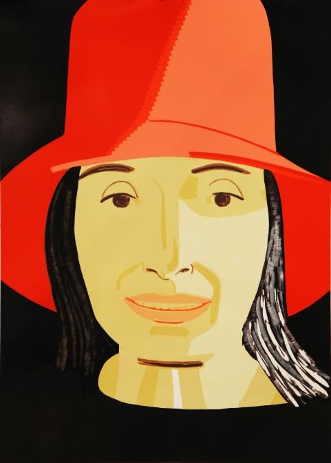 Alex Katz Red Hat Ada, Holzschnitt, signiert, nummeriert, Auflage 40 Stück