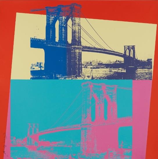 Andy Warhol Brooklyn Bridge, Farbsiebdruck, signiert, nummeriert, Auflage 200 Stück