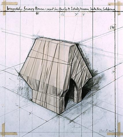 Christo Wrapped Snoopy House, Collage, signiert, datiert, Auflage 250 Stück
