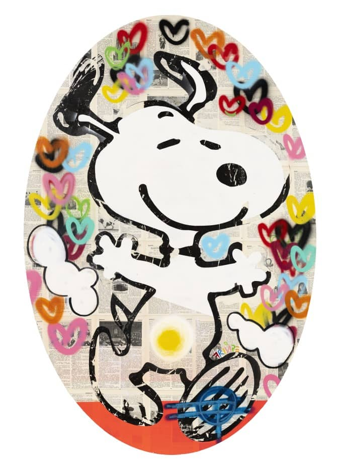 Fringe Snoopy Loves Oval Canvas