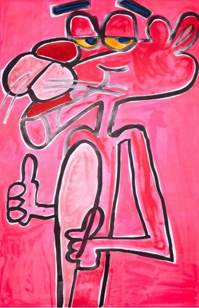 Katherine Bernhardt Pink Panther, Lithographie, signiert, nummeriert, Auflage 65 Stück