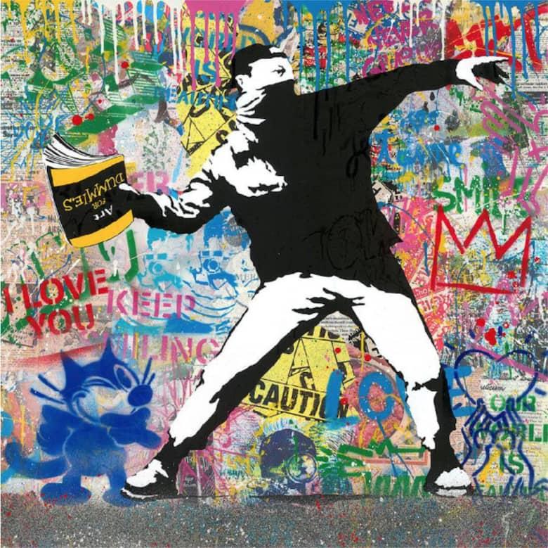 Mr. Brainwash Banksy Thrower, Mixed Media, signiert, Unikat