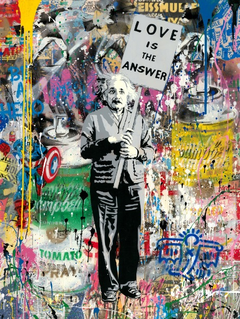 Mr. Brainwash Einstein, Mixed Media, signiert, Unikat