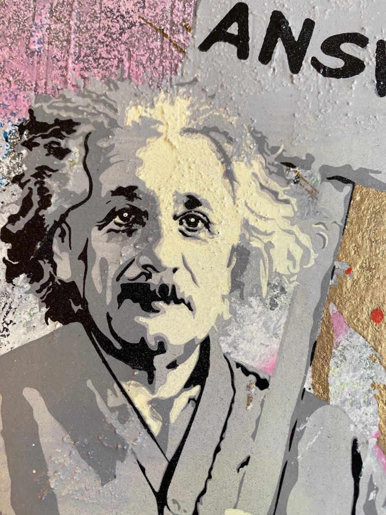 Mr. Brainwash Einstein Detail, Mixed Media, signiert, Unikat