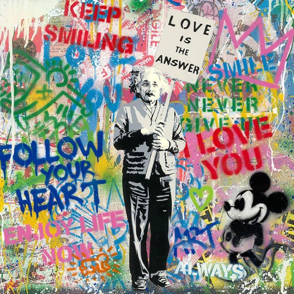 Mr. Brainwash Einstein, Mixed Media, signiert, Unikat