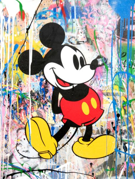 Mr. Brainwash Mickey Green, Siebdruck, signiert, Unikat