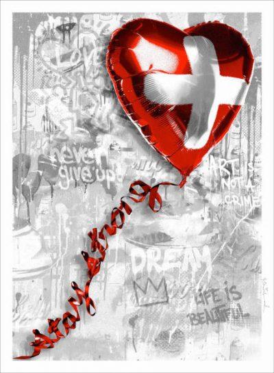 Mr. Brainwash Stay Strong Swiss, Siebdruck, signiert, nummeriert, Auflage 85