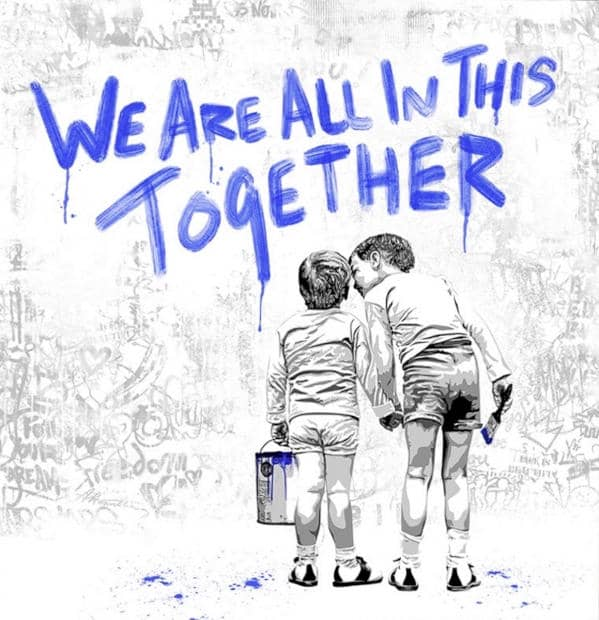 Mr. Brainwash We are all in this together blue, Siebdruck, Auflage 75