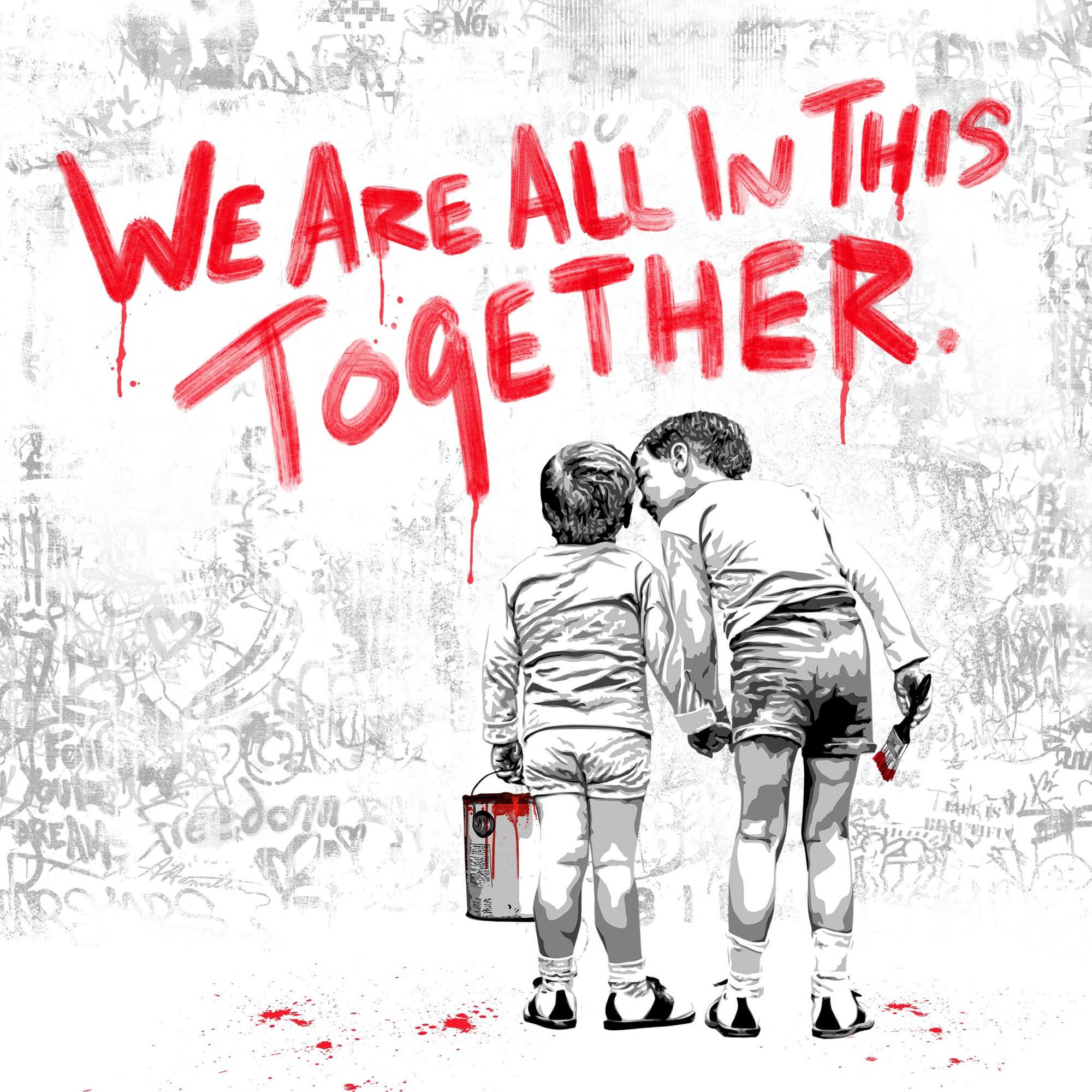 Mr. Brainwash We are all in this together (Red Edition), Siebdruck, signiert, nummeriert, Auflage 75 Stück