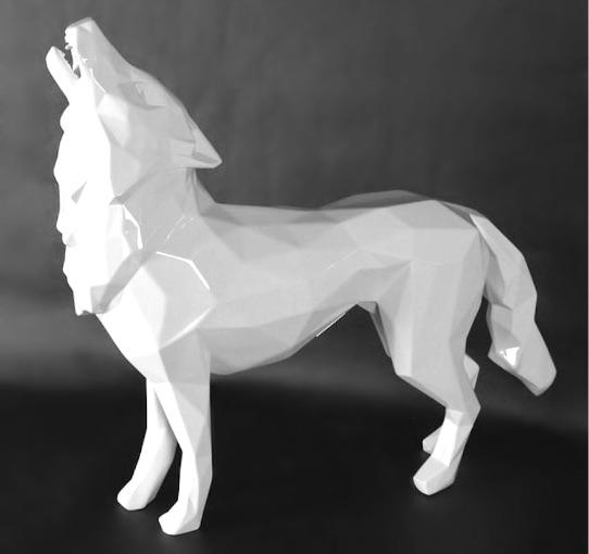 Richard Orlinski Howling Wolf (white), Skulptur, graviert, Auflage 8 Stück