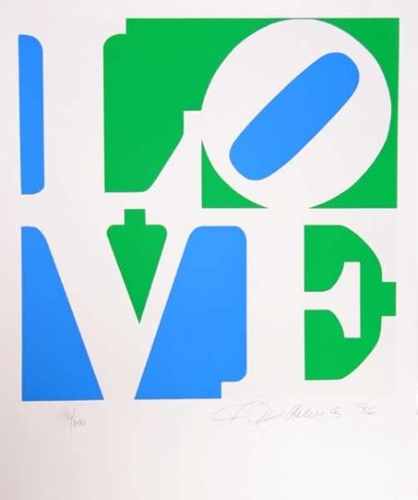 Robert Indiana The Book of Love #8 (green, blue), Lithographie, signiert, nummeriert, Auflage 200 Stück