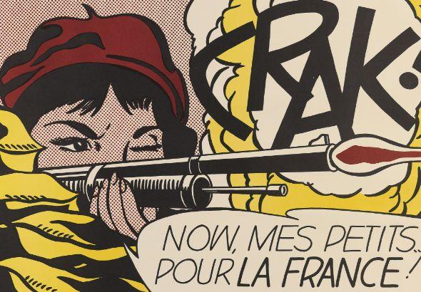 Roy Lichtenstein Crak! ( Corlett II.2. ), Farb-Offsetlithographie, signiert