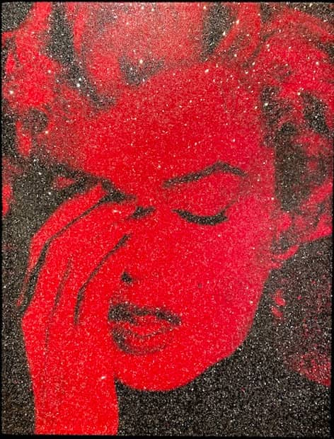 Russell Young Marilyn Crying Fire Red, Siebdruck, signiert, Unikat