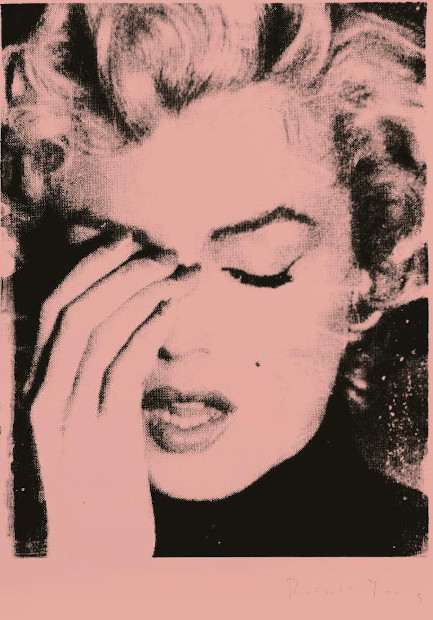 Russell Young Marilyn Crying Melrose Pink, Siebdruck, signiert, Unikat