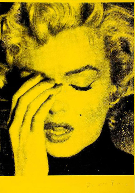Russell Young Marilyn Crying Mulholland Yellow, Siebdruck, signiert, Unikat