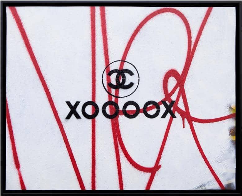 xoooox chanel Unikat Mixed Media und Stencil
